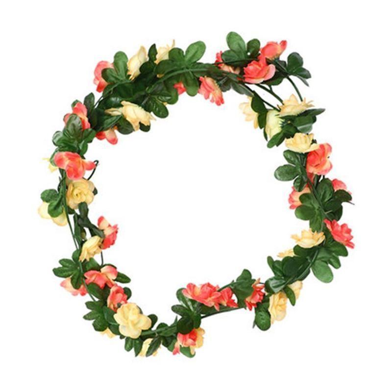 2pcs Rattan seda artificial vid de Rose flores colgantes de pared Decoración falsas las plantas salen Garland romántica de la boda Decoración del hogar