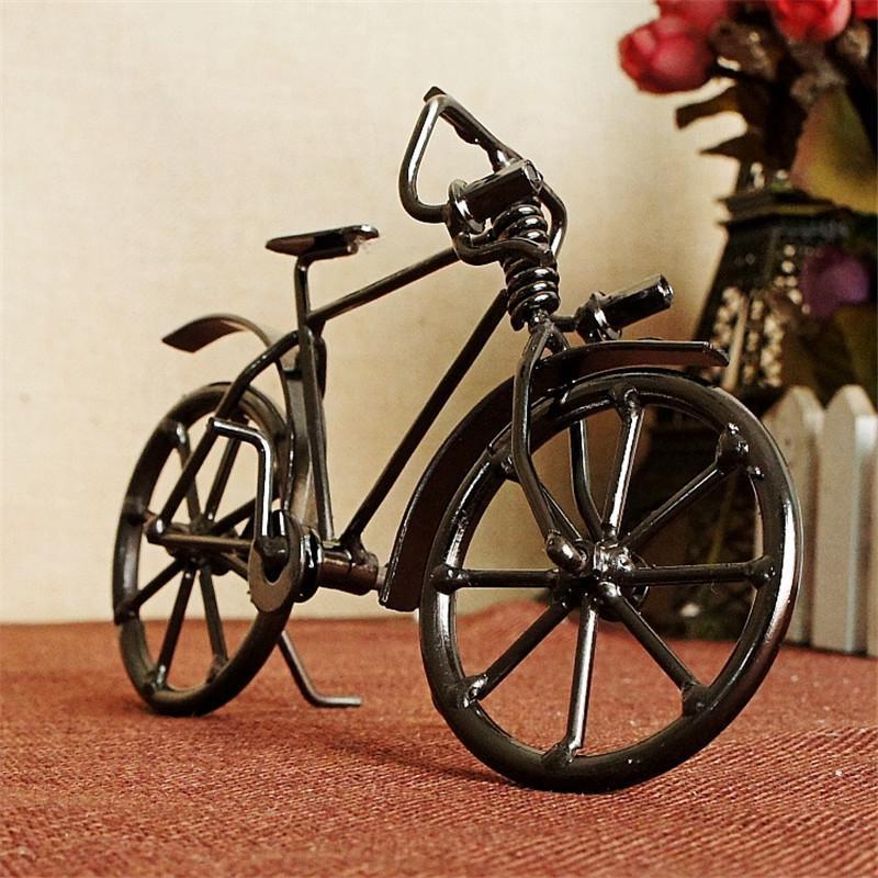 العتيقة الدراجة نموذج المعادن الحرفية المنزل الديكور خمر دراجة تمثال المنمنمات الأطفال لعبة عيد هدايا الإبداعية الحرف 20120