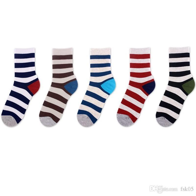 Полоса шить цвет мода красочный человек счастливые носки смешно японские harajuku случайный хлопок мужские деловые носки осень зима кг-137