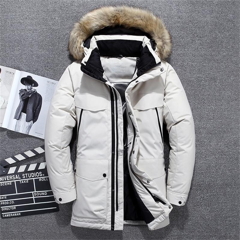 Nuovo -40 gradi di alta qualità Top Quality Bianco Duck Down Giacca Uomo Spessore Inverno Big Fur Collar Caldo Parka Impermeabile Antivento Antivento 201226