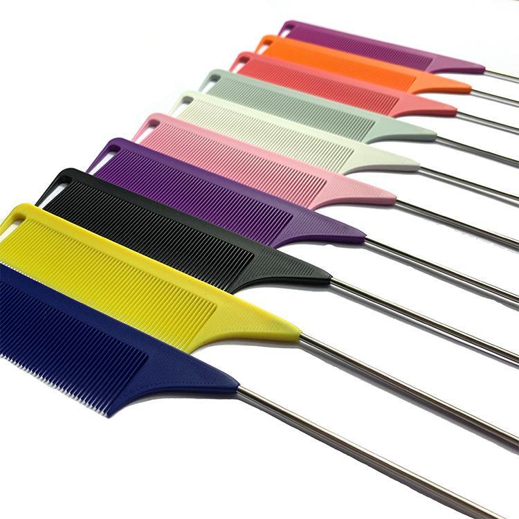 Fibra de carbono anti-estática rato pente de metal pin pino cabelo ferramenta ferramenta de cabeleireiro beleza usar 100 pcs / lote