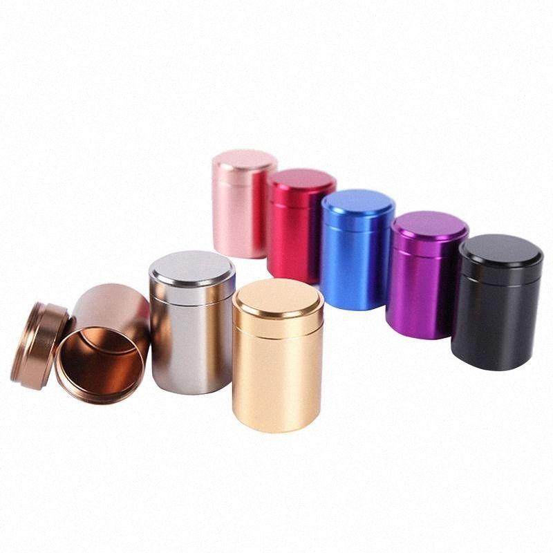 80ML Mini caja del metal de la joyería Caja de almacenamiento de aluminio puede Pequeño Portable del recorrido del envase pequeño frasco de café de azúcar Caddy Organizador 7rwp #