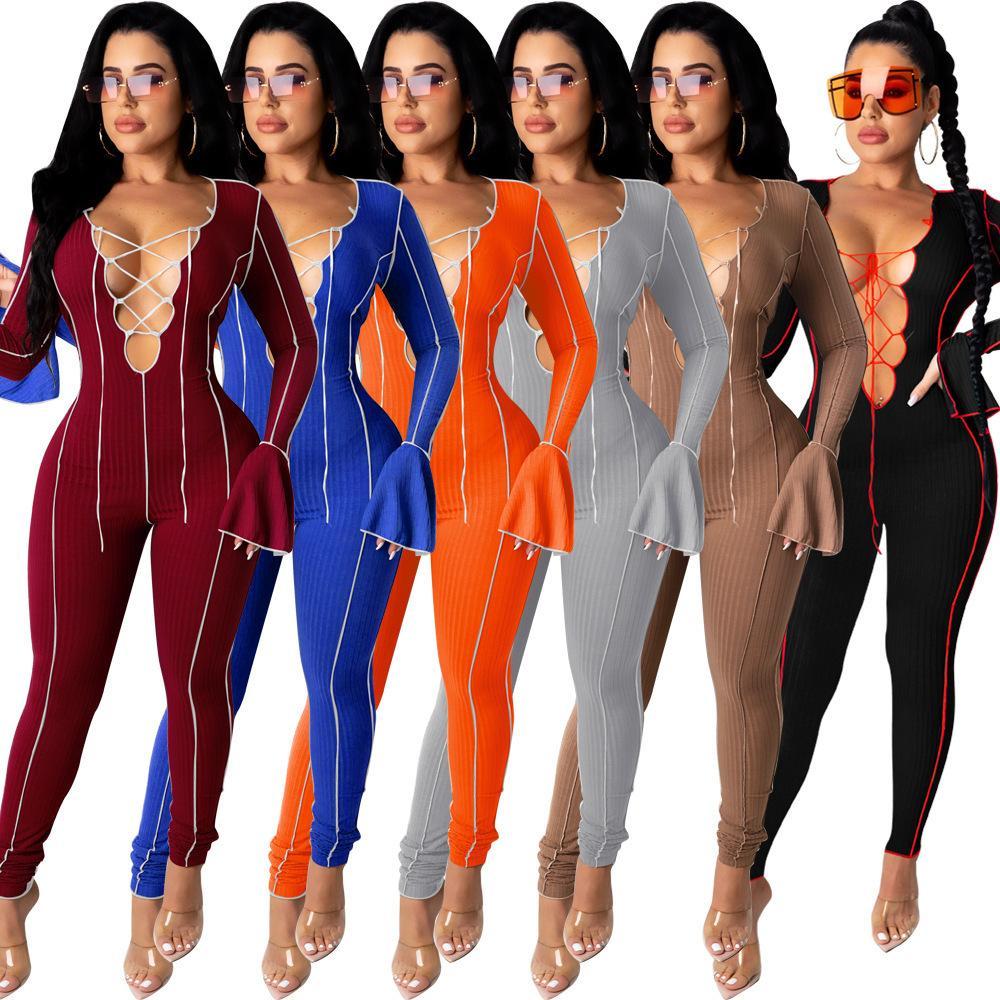 Donne tutes suits moda sexy bendaggio Onesies Aprire il manicotto dell'ombelico dell'ombelico One Piece Nightclub Body Designer Designer Designer 2021