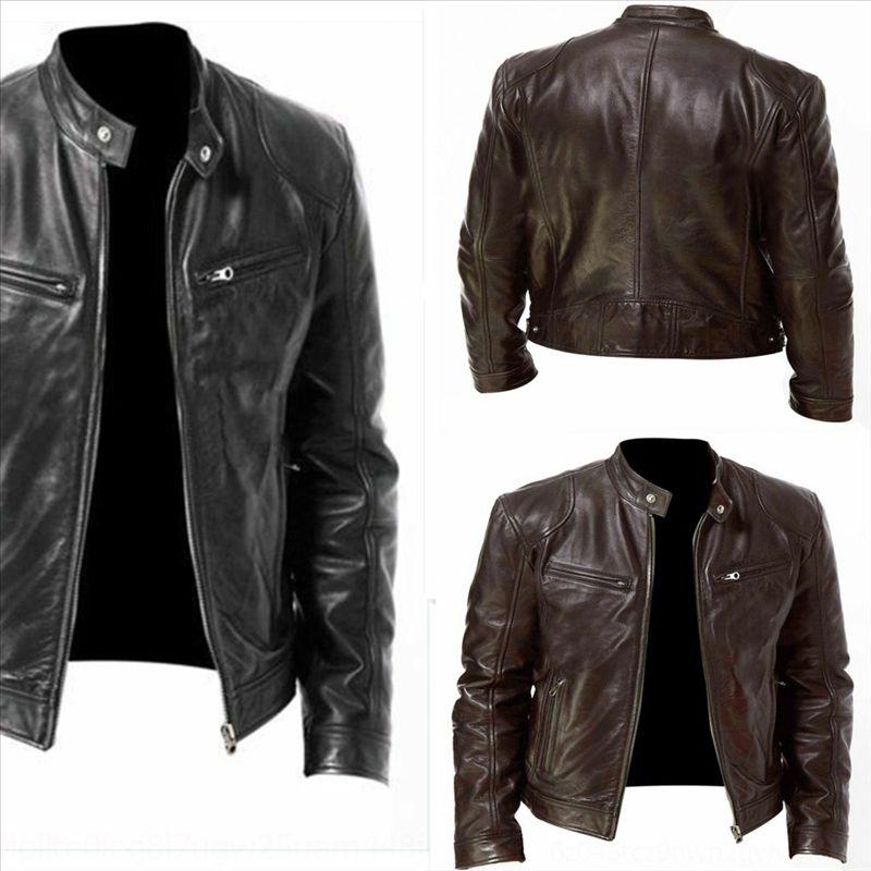 V4HP Neue Frühling PU Herrenjacke Mantel Leder Einfache Hit Farbe Mode Designer Lederjacke Motorradjacke Slim Herrenmantel Winter