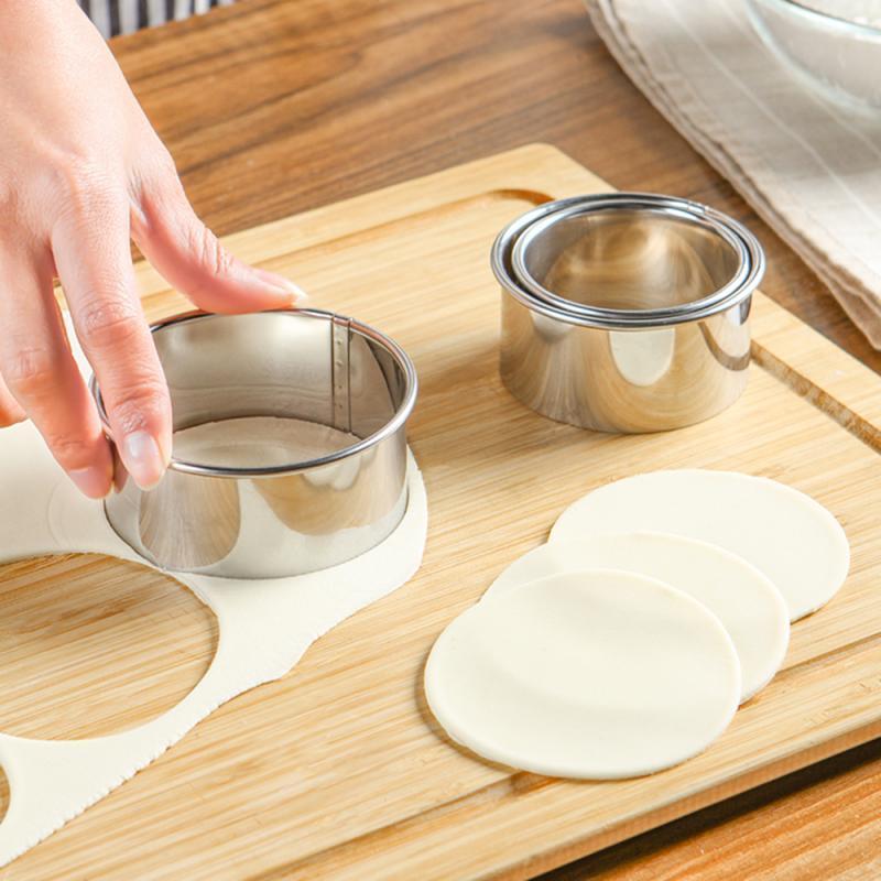 베이킹 패스트리 도구 3pcs / 세트 스테인레스 스틸 만두 제조 업체 반죽 커터 파이 라비올리 금형 주방 부속품 Bakeware