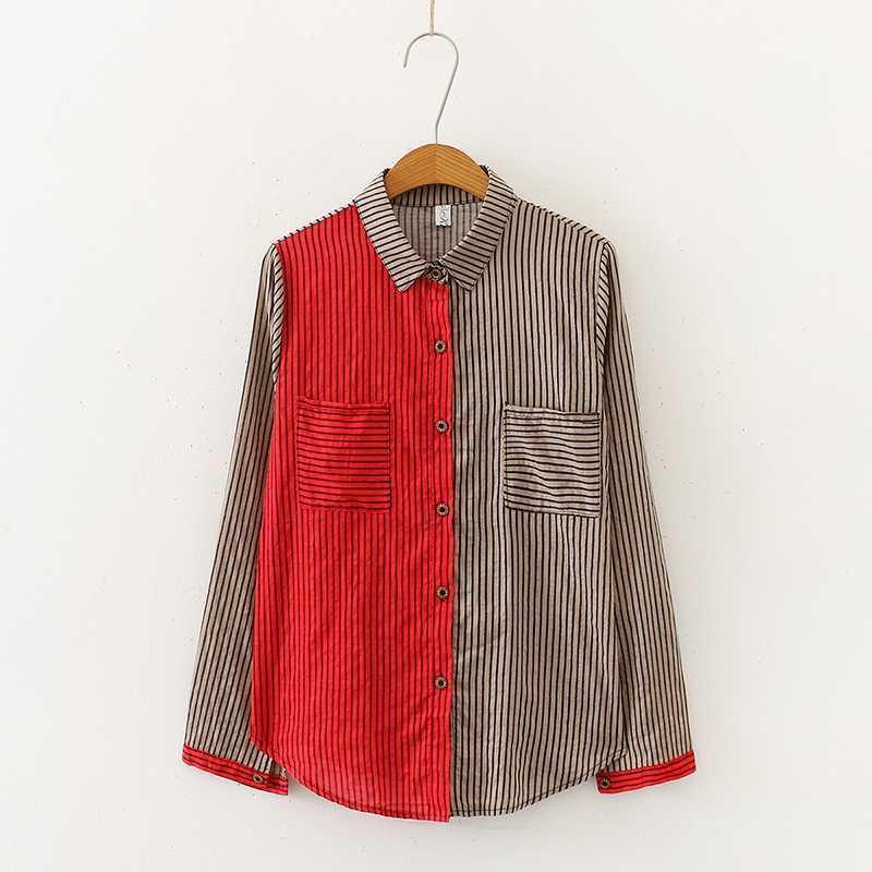 2020 senhora vertical algodão listrado e linho camisa de manga comprida blusa1