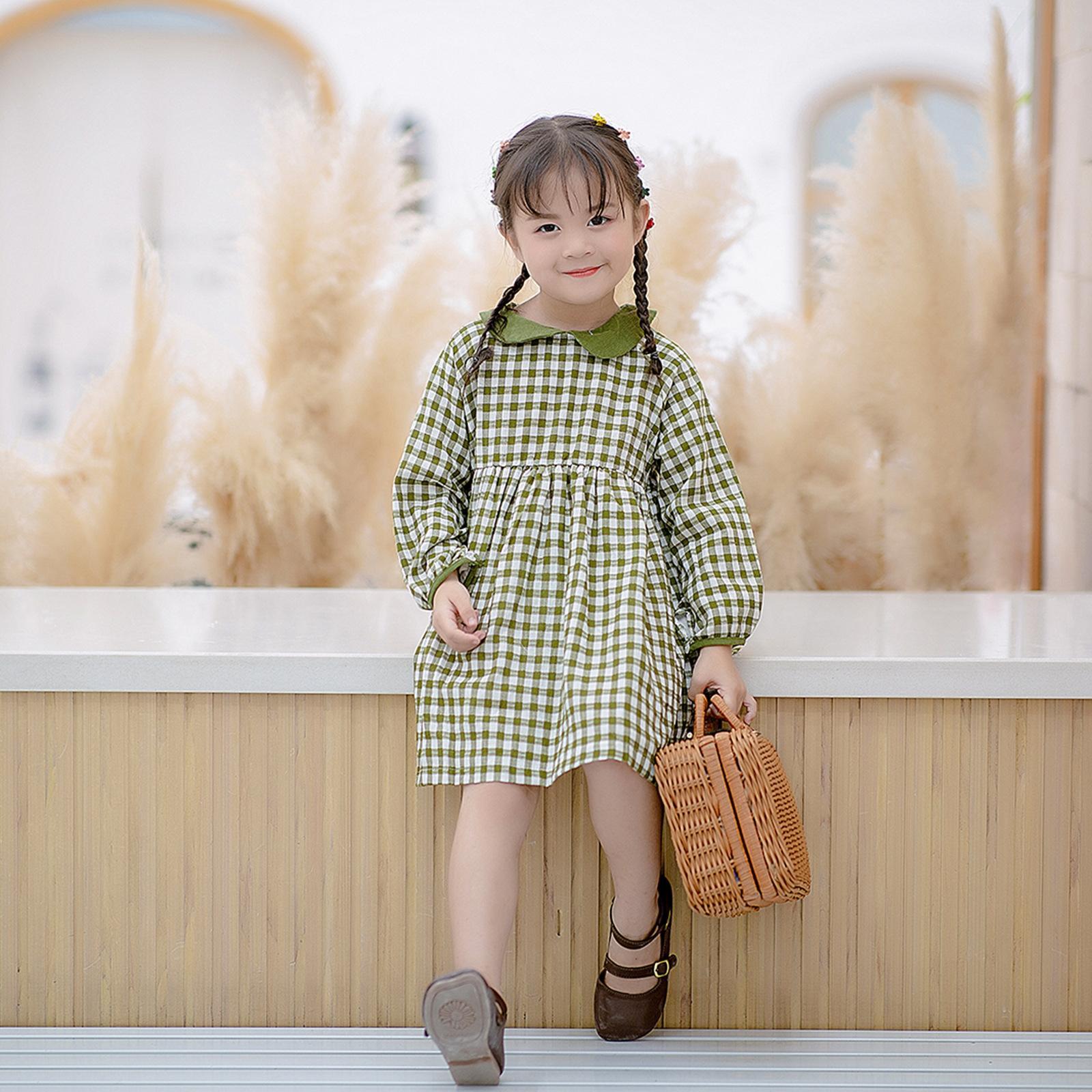 T.z enfants nouvelles filles d'automne 2020 pour les enfants cols bébé robe de style coréen coton robe à carreaux I1pts