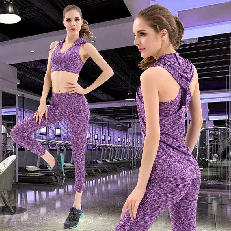 Femme Sportswear Gym Yoga Ensemble Running Women Femmes Entraînement Leggings Sports Bra et Culture Top 3 Piece Fitness usure