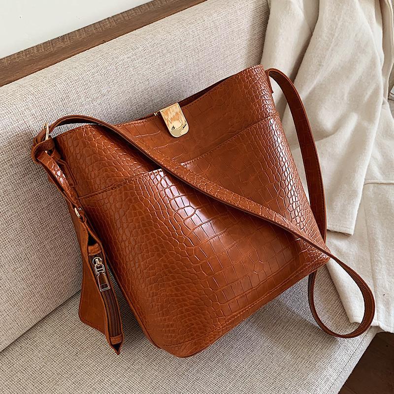 Vintage Alligator Bucket Shoulder bag women purses and handbags PU Leather Composite Bags Fashion Crocodile Women's Totes 2Pcs Q1230