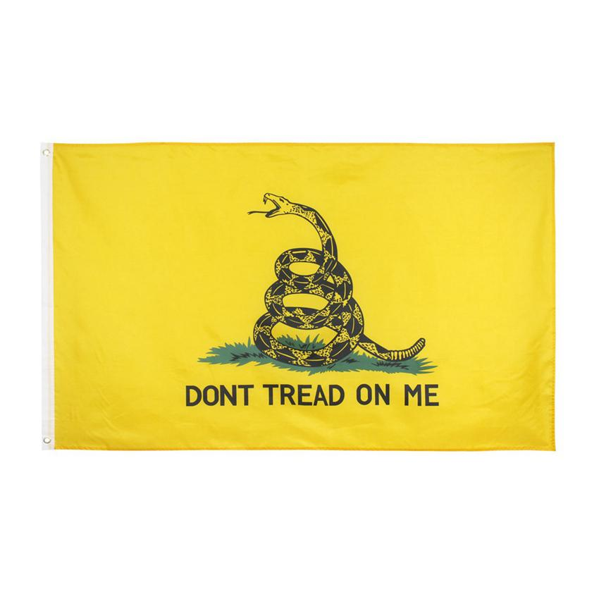 90 * 150cm Gadsden-Flagge TRETEN NICHT AUF MIR-Gelb-Schlange Flagge USA Präsidenten Americal Flaggen Gadsden Flaggen CYZ2899