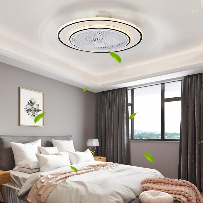 52cm Silent Smart Smart Plafond Ventilateurs de lampe avec lumières Contrôle de la télécommande Bluetooth Chambre Bluetooth Décor Ventilateur Lampes Air Invisible Blades1