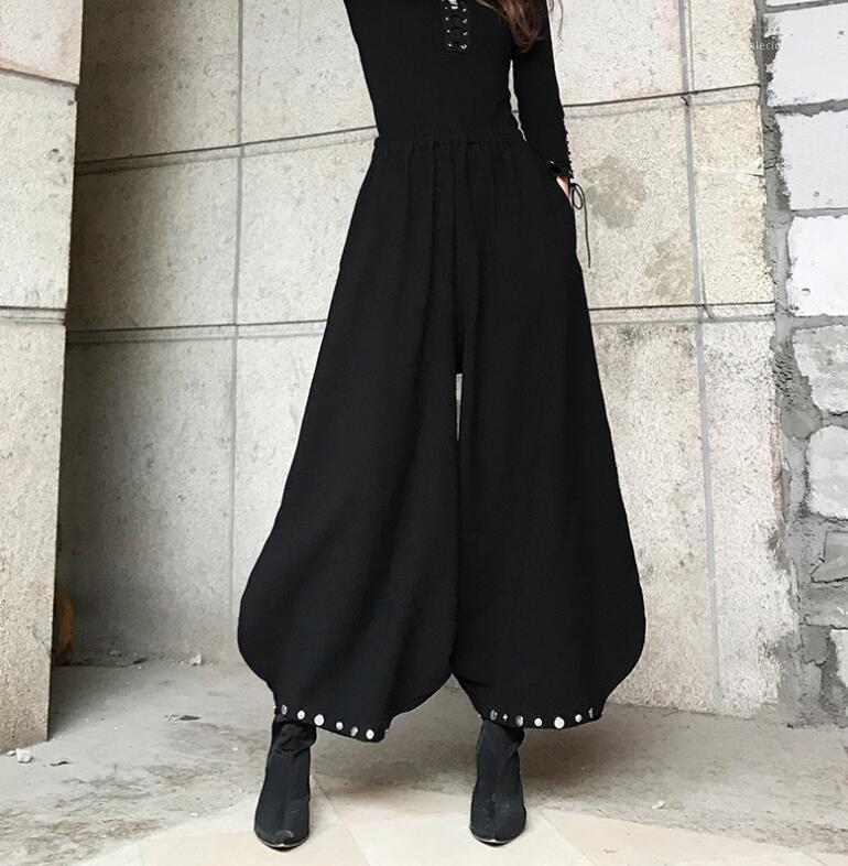 Женские брюки CAPRIS женская взлетно-посадочная полоса мода высокая талия черная длинная женская панк широкополосный фонарик брюки TB6331