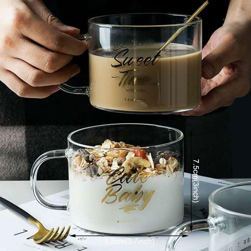 خطابات زجاج كأس ماء الأزياء نصف انحراف أكواب القهوة الأمن المنزلية تنفجر الوقاية مقبض الإفطار كؤوس القدح vtky218