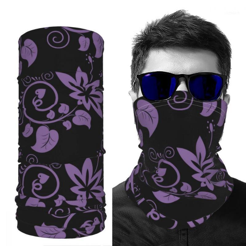 Mask scarf silk scarf sun screen winter printed fashion DIY customizable Purple flowers ice silk1