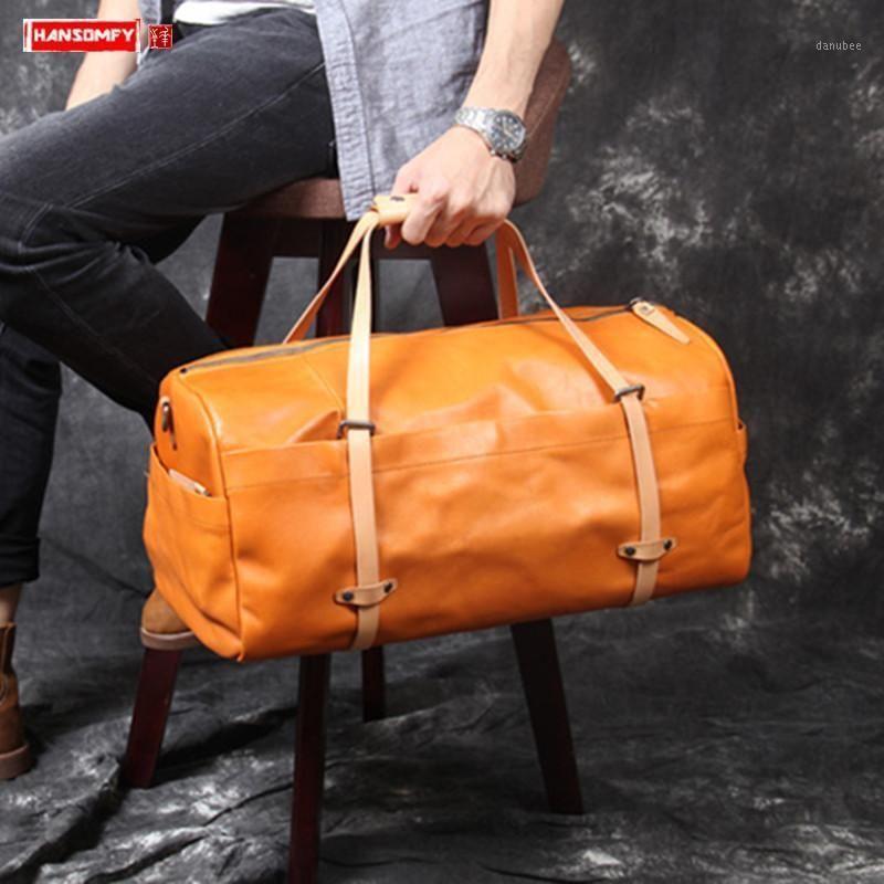 Leder Männer Handtasche Rindsleder Reisetasche Gepäcktasche Herren Große Kapazität Retro Original Gemüse Gegerbtes Leder italienisch1