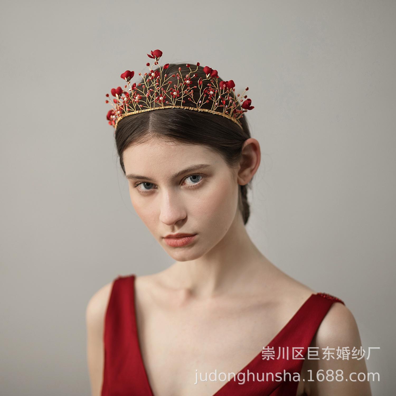 Cabelo nupcial do casamento vermelho do ouro da tiara Headpiece de cristal Acessórios de cabelo da noiva Jóias