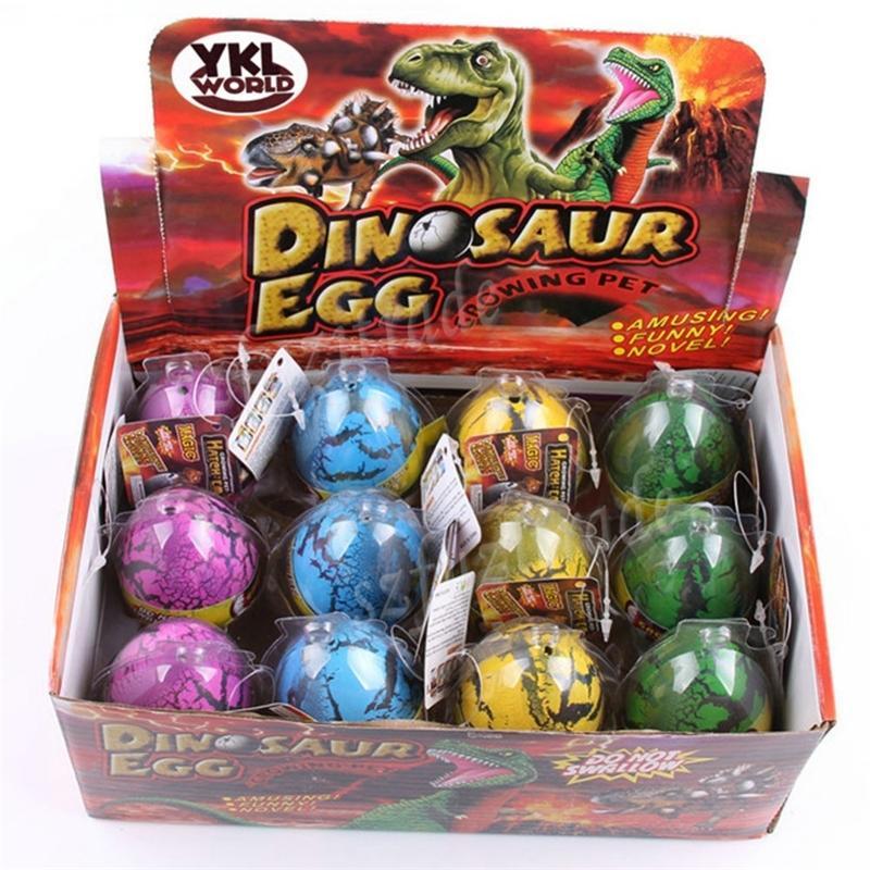 Grande tamanho 12 pcs / set mágica incubando a inflação crescendo dinossauro adicionar água crescer dino ovo crianças criança divertido engraçado brinquedos presente gadget y200428