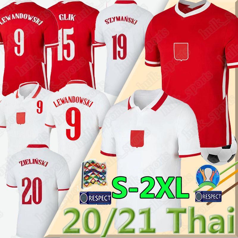 2020 2021 POL equipe nacional e Futebol Casa longe LEWANDOWSKI Milik Piszczek Piatek Grosicki Jersey uniformes de futebol Camisetas masculinas
