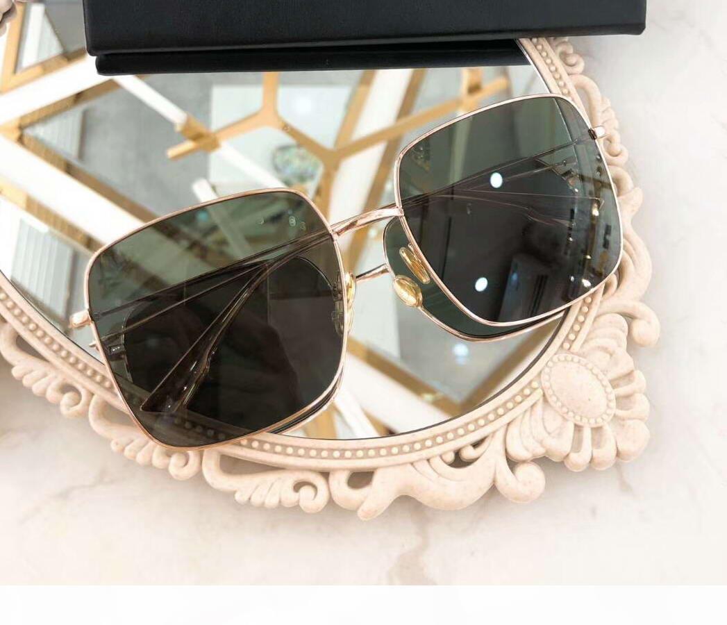 Lunettes de soleil carrée en métal en cuivre verte Lentilles vertes UV400 Sun lunettes de mode de mode Sunglallesse Shades Women Eyewear