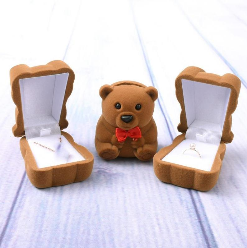 Jewelry Boxes Bear Jewelry Packaging Boxes Wedding Supplies Proposal Ring Box Valentines Day Gifts Packaging Box EED4158