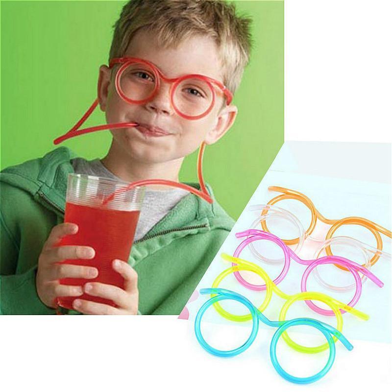 Plástico PC 1 paja de los vidrios de la diversión, flexible y pajitas de beber tubo Herramientas niños de la novedad del partido, barra del juguete Suministros de Kawaii