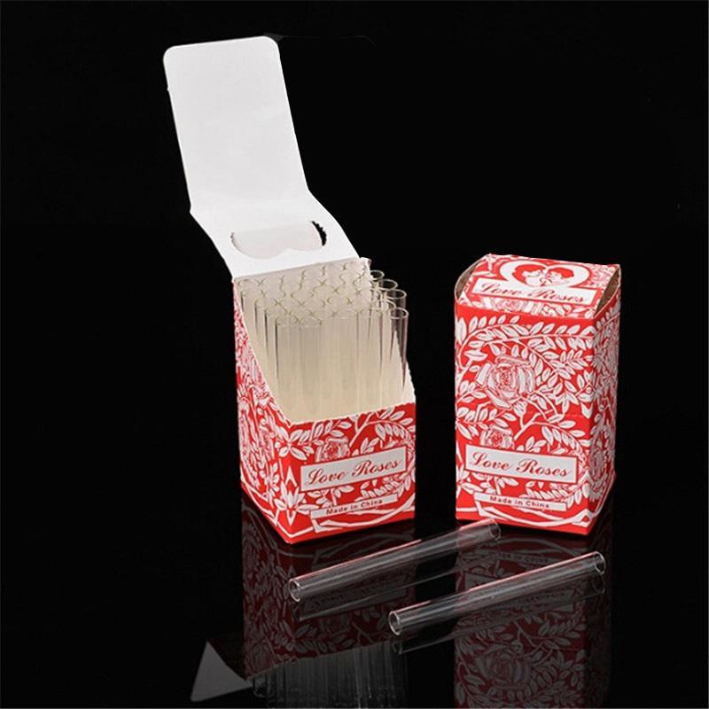 Amour Rose Glass Tube 36pcs dans une boîte Clear Verre Tuyau de fumée Tabac Pipe Tabo Fumée Accessoire