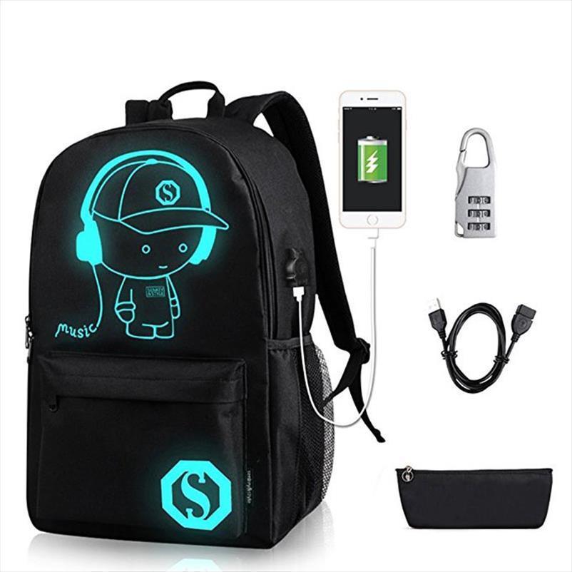 Liman ve Kilit Çanta Siyah Şarj Anime Aydınlık Öğrenci Okul Çantası Okul Çantası İçin Boy kız Sırt çantası Fonksiyonlu USB