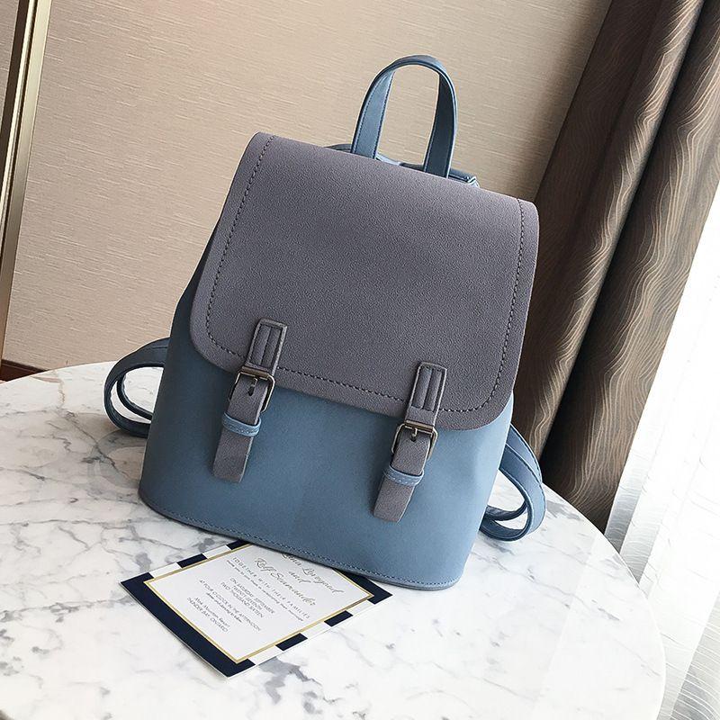 2020 neue Frauen-Rucksack-Kontrast-Farben arbeiten Schulter-Sac Female Schule Beutel-große Kapazität PU-Leder Rucksäcke Reisetasche Q1113