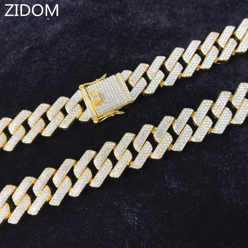 Hommes HIP HOP Chain Collier 20mm Largeur Largeur Chaînes cubaines Glafe Out Bling Collier HiPhop Fashion Bijoux Cadeau