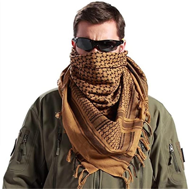 Шарфы 100% хлопок шарф мужчины шемаги тактические пустынные кеффий шеи арабские обертывания с кисточкой квадрат открытый платок