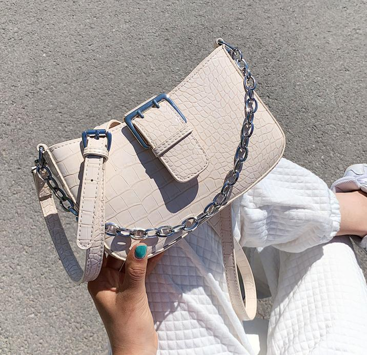 Vintage purple Alligator Baguette Shape Luxury Leather Handbag 2020 New Fashion Shoulder Bag Womens Messenger Crossbody Bags Q1106