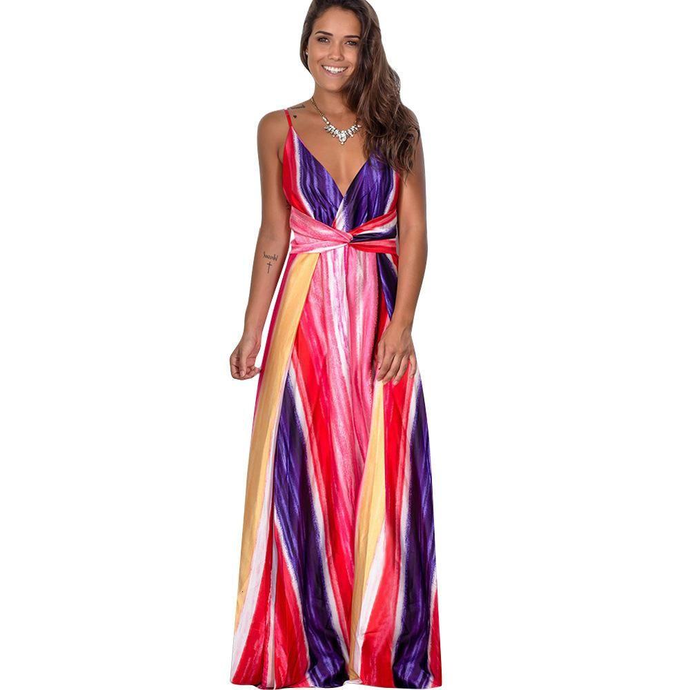 여러 가지 빛깔의 열대 정글 잎 보헤미안 롱 드레스 슬링 크로스로 돌아 가기 여성 V 넥 파티 밤 우아한 섹시한 맥시 여름 드레스