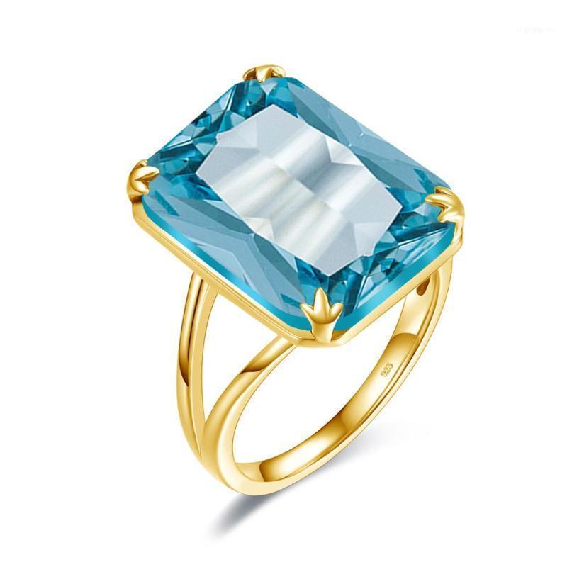 SZJINAO SKY AZUL AUDAMARINE ANILLO Hecho a mano Talla de oro Anillos de oro para mujeres Rectángulo Piedra preciosa vikingo 100% 925 Joyas de plata maciza1