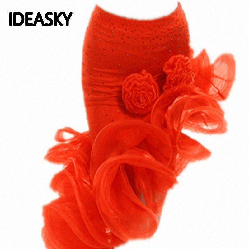 Ragazza latina pannello esterno di ballo Vendita rosso arancio leopardo Cha Cha / Rumba / samba / Abiti di tango per ballare Practice Performamnce Dancewear a4tt #