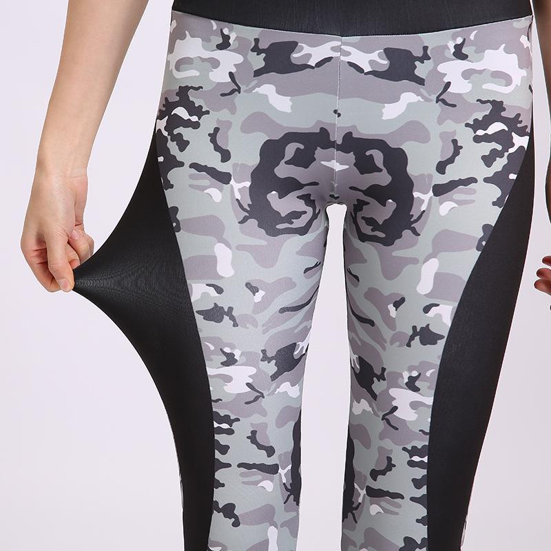 Große Yoga-Hosen Tarnung Fitness näht Hosen hohe Taille Hüfte Hebe Strumpfhosen für Frauen läuft