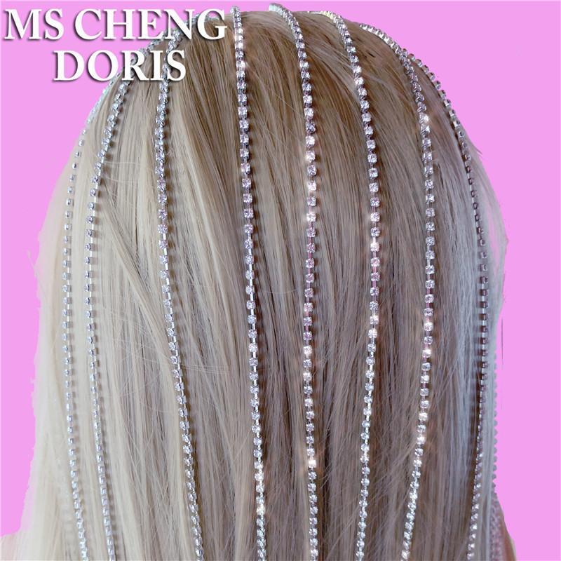 Сеть волос Головной убор Аксессуары для женщин Кристалл волос обруч оголовье Глава цепи ювелирные изделия Длинные кисточкой горный хрусталь Роскошный Диадемы