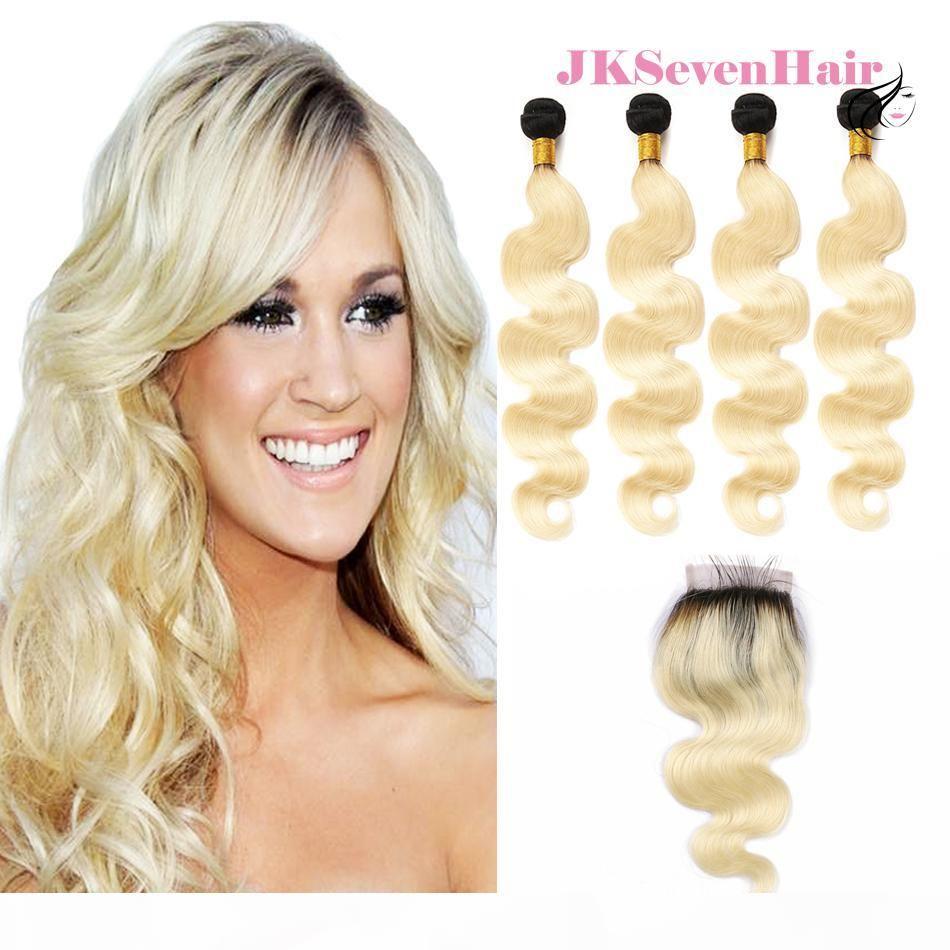 1b Blonde Body Wave Brasileño Virginal Hair Extension 4 paquetes Cierre de encaje 1b 613 Remy Remy Remy Weaves With 4x4inch Cierre