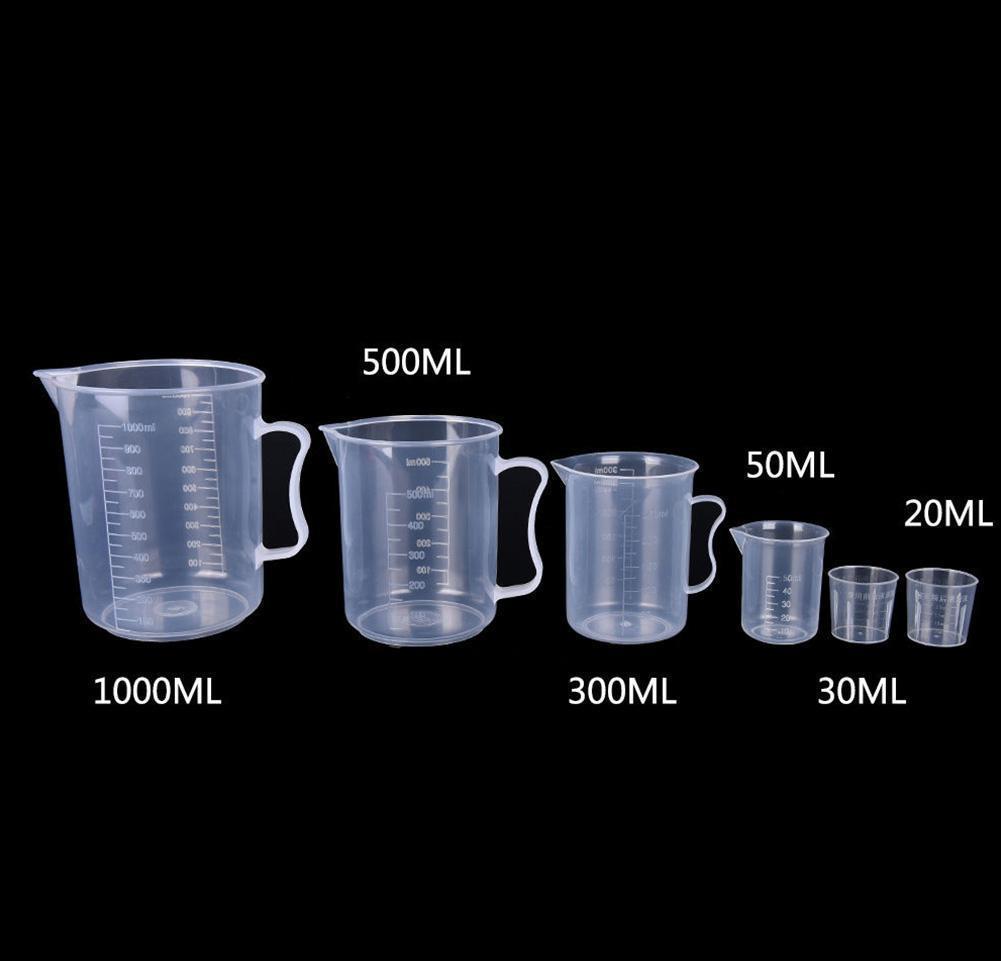 20ml / 30ml / 50ml / 500 ml Tasse à mesurer transparent avec des outils de mesure en plastique de qualité alimentaire pour bricolage de bricolage KI Wmtyy xhlight