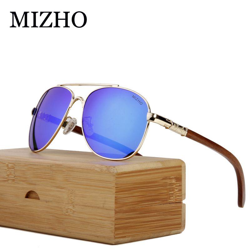 Mizho Polarisée Bois Eyewear Hommes Protection Visuelle Lunettes de soleil Lunettes de soleil Miroir Verres Verres Voyages Voyages Unisexe Design PaeHP