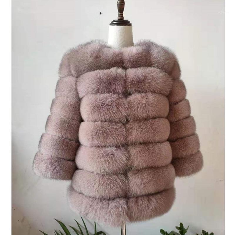 Женский меховой FUX 2021 кожа 100% натуральное пальто, подходит для реальных женщин зимнее теплое высококачественное пальто на 1
