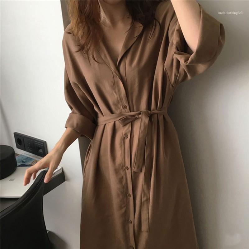 Elegante mulher blusas solta .Lapel design, mangas compridas, estilo casual solto.Fashionable blusa botão sol blusa de proteção hot1