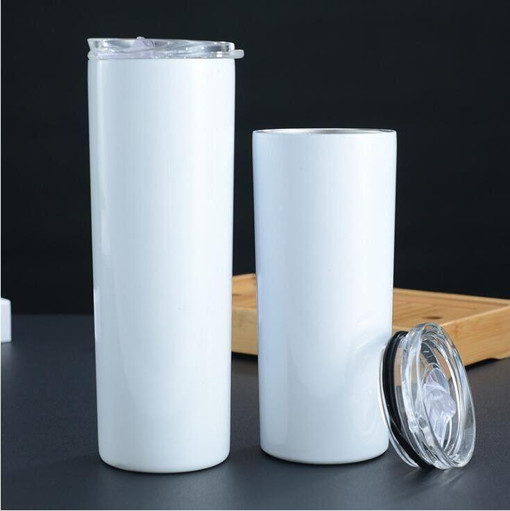 20Oz 30oz Skinny Tumblers Leerer Sublimation Slim Cup Kaffeetassen mit Deckel und Kunststoff Strohbier Bier Tassen Meer Versand CCA12591