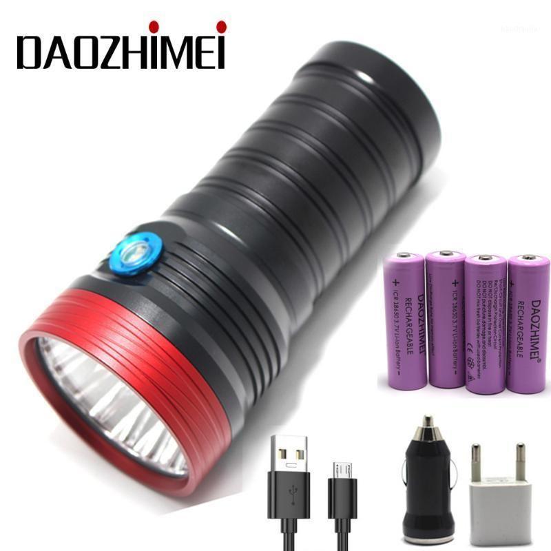 LED Ultra Bright Lighting Torch 18xt6 Camping Light 4 Modes Водонепроницаемый аккумуляторная тактическая факел Использовать 4x18650 Battle1