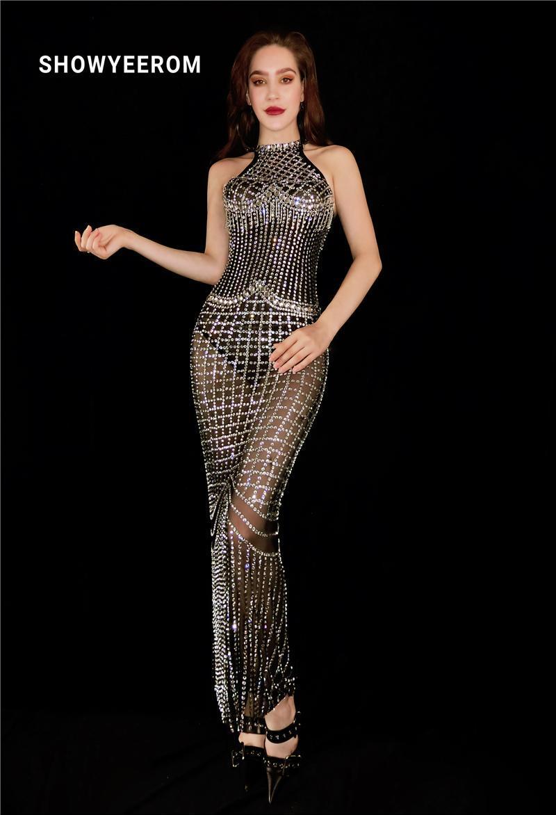 مرحلة ارتداء النساء الأسود بلورات سباركلي شبكة اللباس طويل عيد ميلاد الزفاف الاحتفال انظر من خلال الزي الرقص زي