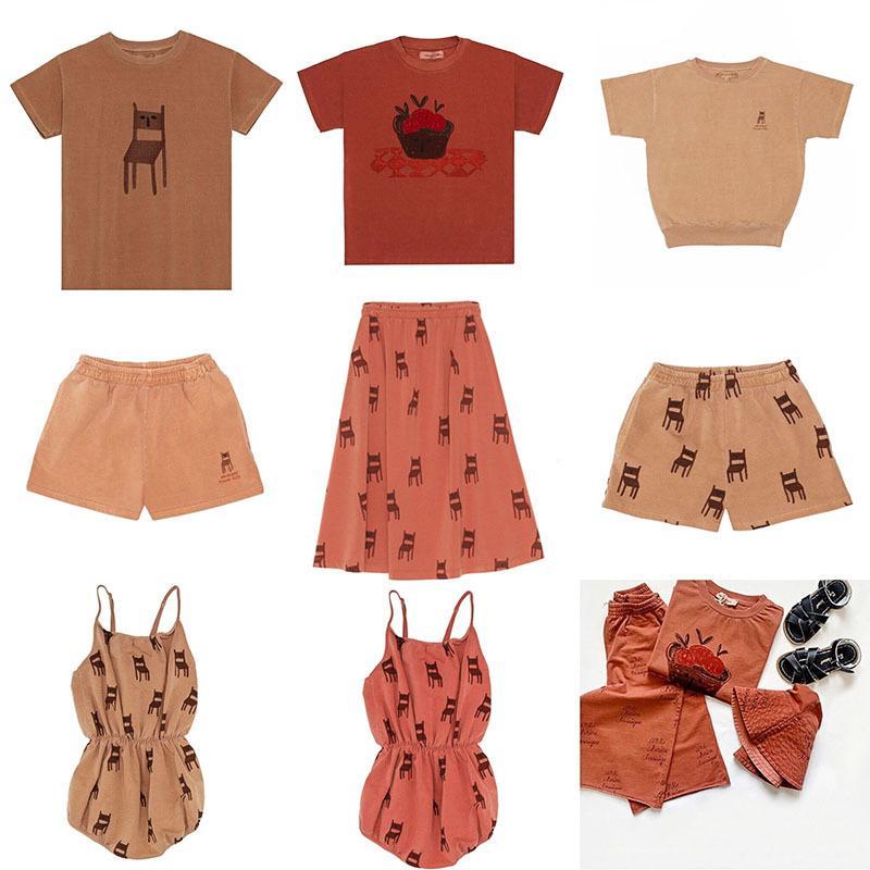 Hafta sonu Evi Çocuk Yaz Şık Tişörtlü Çocuk Erkekler Kızlar Marka Deisign Moda tişört şort Vintage Bebek Yaz Elbise 1005