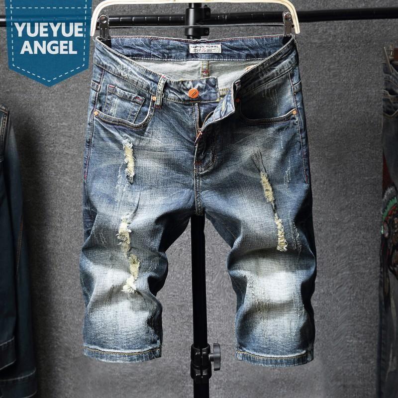 High Street Jeans Mens Casual joelho Praia Calças Verão rasgado Elastic soltas Fit Hetero Homens Denim Shorts Plus Size 40