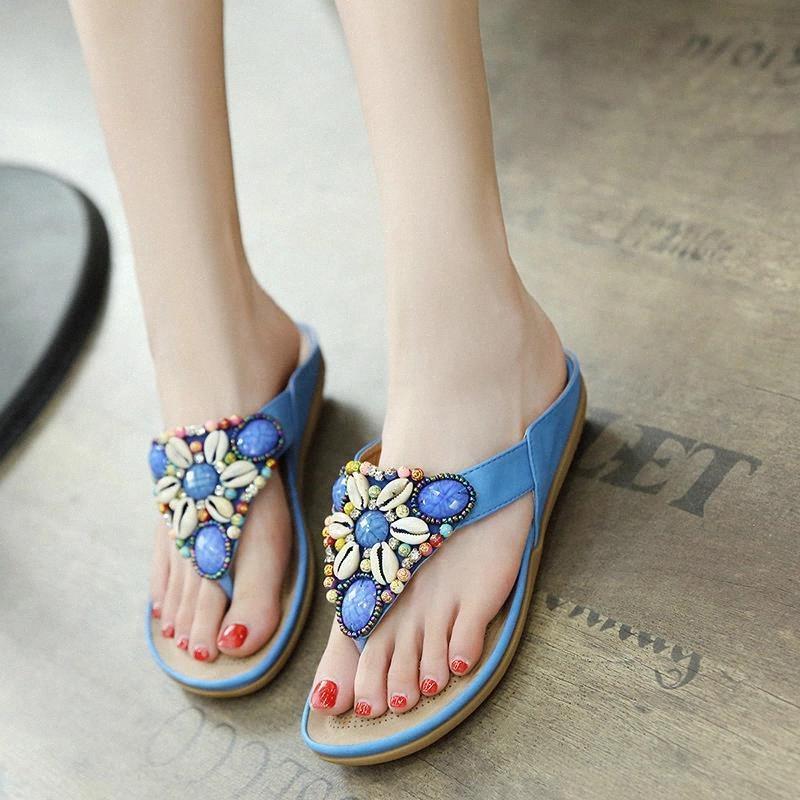 Terlik kadın kadın sandalet 2020 yeni plaj açık yaz kadın ayakkabı flip flop etnik boncuk ayakkabı kadın terlik artı boyutu # gc6g