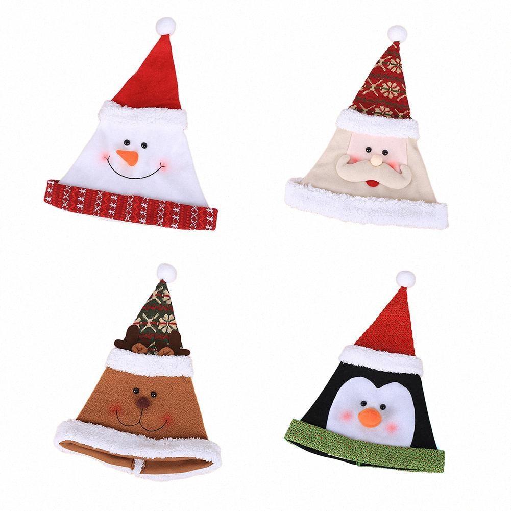 Natal Hat dos desenhos animados de Natal presente do chapéu alto grau Pleuche para adulto Children Adicionar A festiva Atmosfera Para Casa Bares 3SzR #