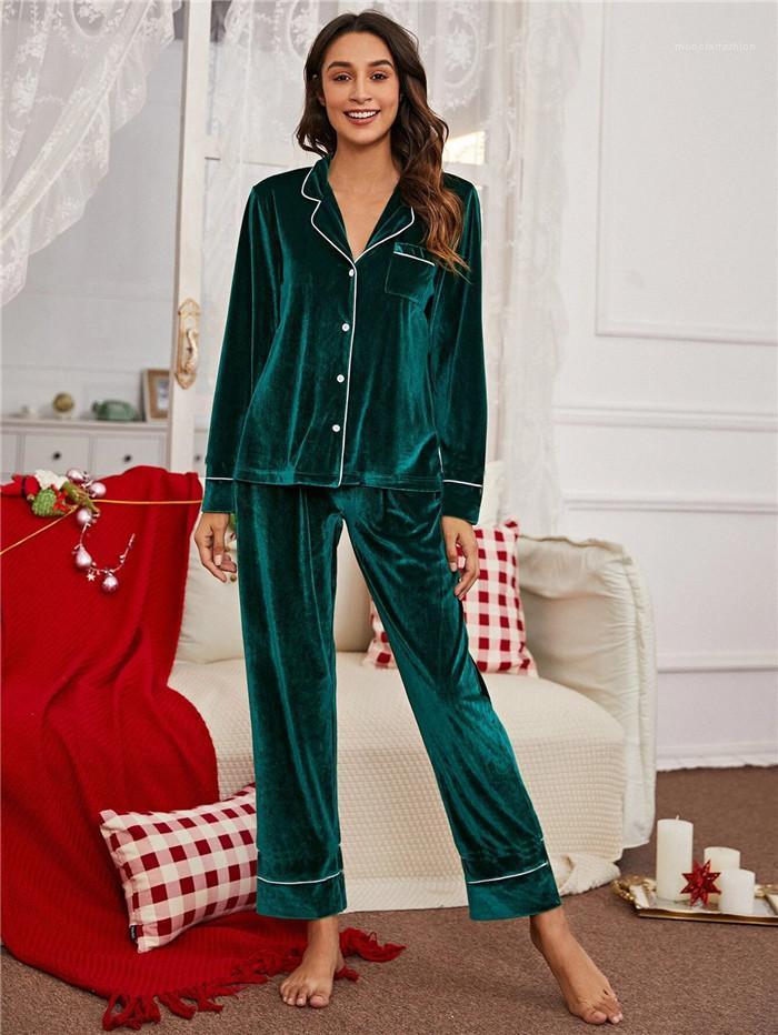 Комплекты спячников наборы кнопки кардиган с длинным рукавом отворотный шеи верхние повседневные брюки свободные удобные женщины две части домашняя одежда одежды плюс размер женщин