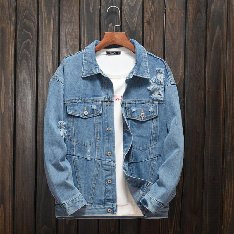 남자 재킷 남자 겨울 구멍 진 파카 패션 가을 캐주얼 데님 편지 재킷 긴 소매 단추 코트 플러스 사이즈
